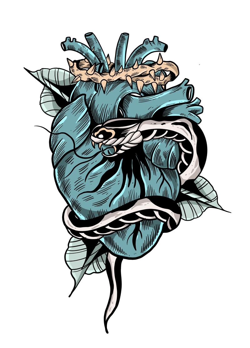 Diseñador gráfico. Ilustración de corazón con serpiente