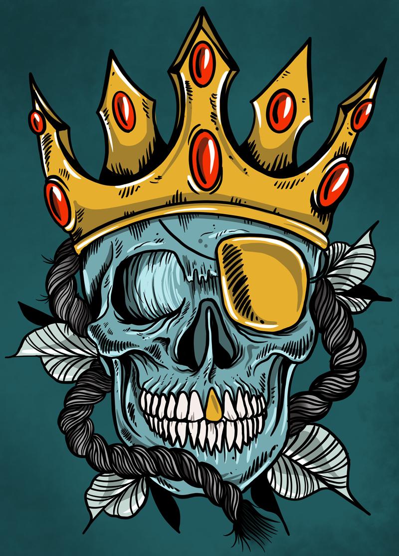 Diseñador gráfico. Ilustración rey pirata