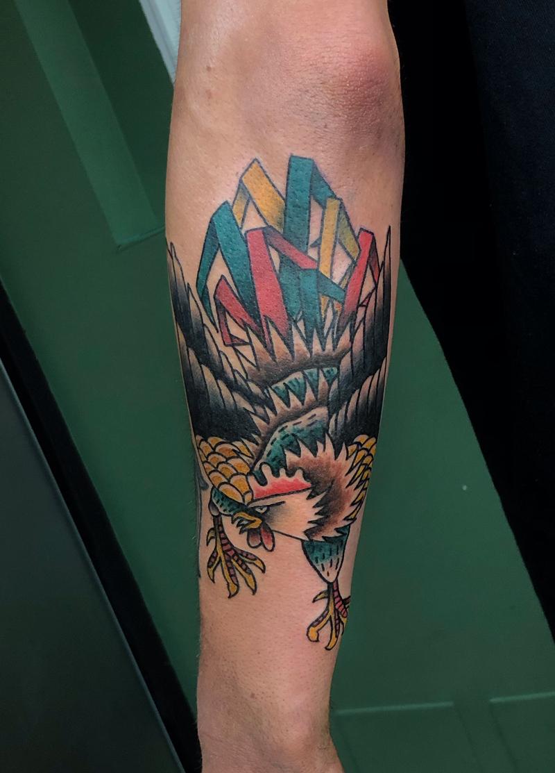 Tatuaje tradicional gallo
