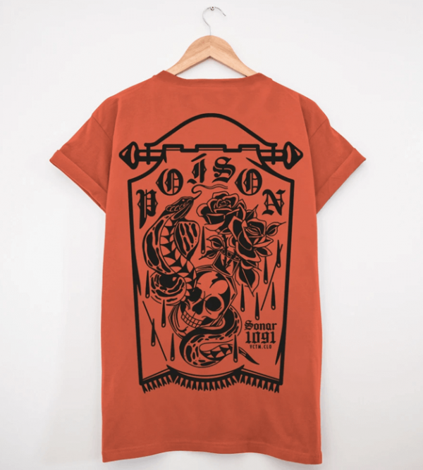 camiseta poison naranja espalda